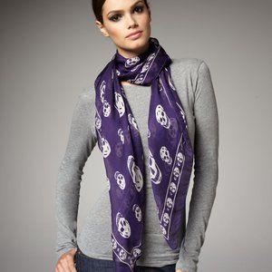 Alexander McQueen purple and white skull scarf